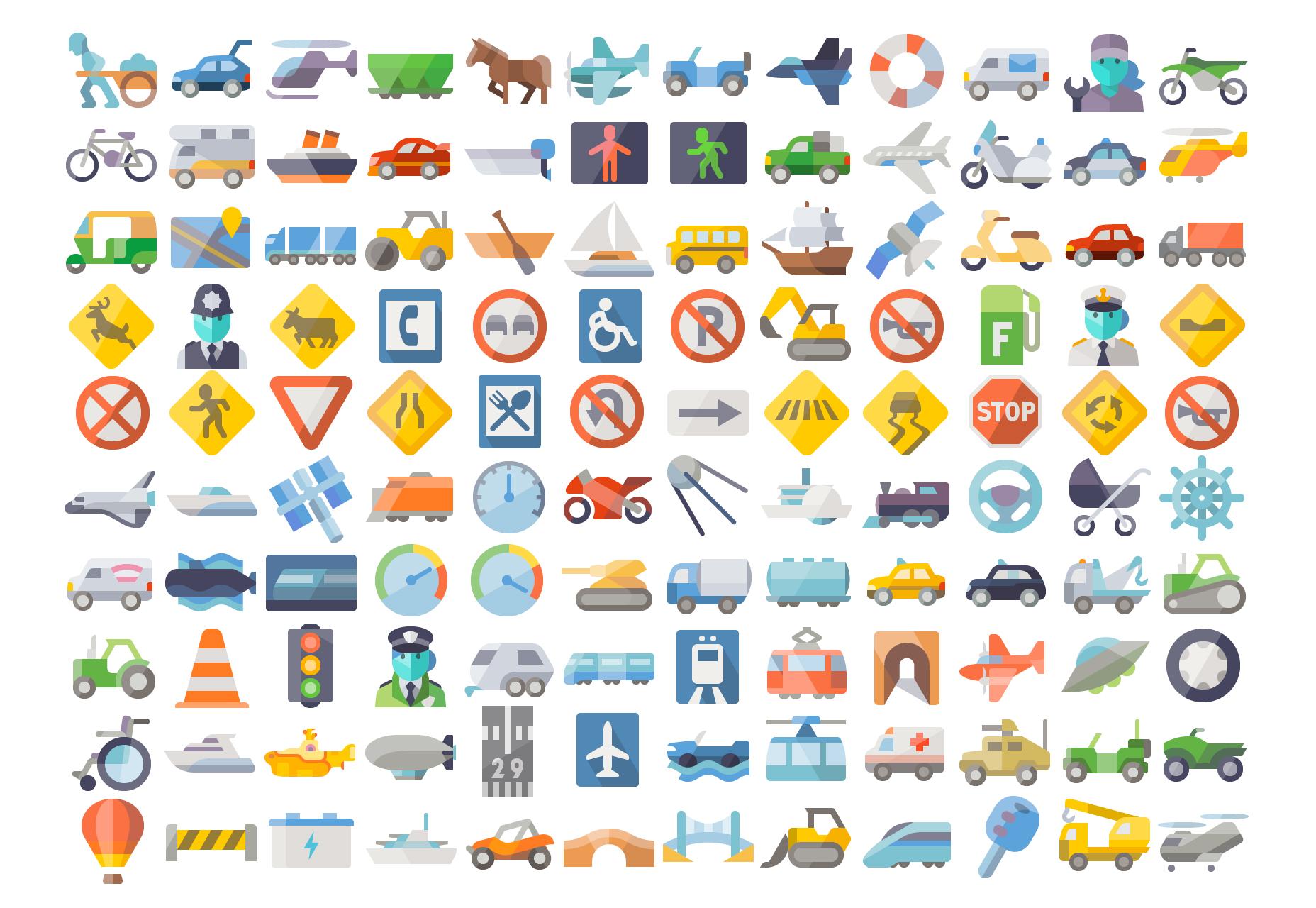 Iconos de Vector plano transporte aseado